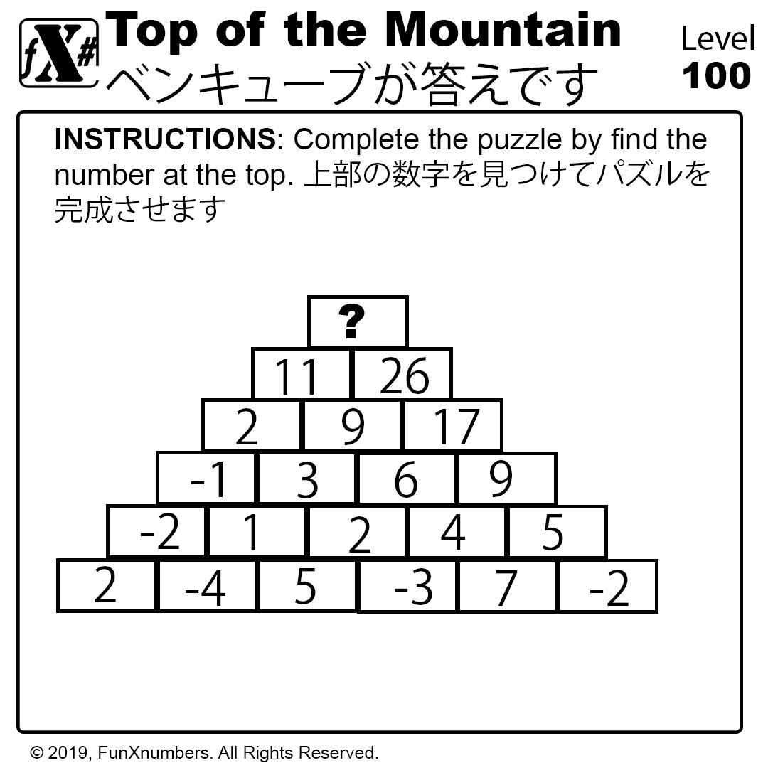 Top Of The Mountain Maths Puzzles Math Logic Puzzles [ 1080 x 1080 Pixel ]