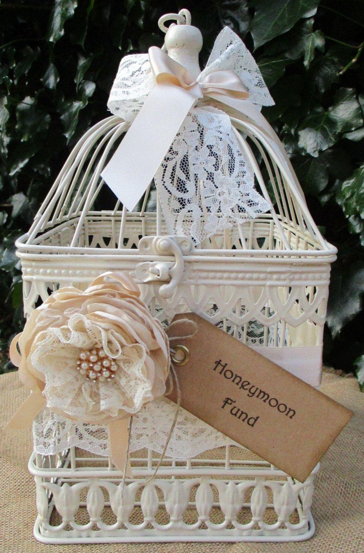 Satin wedding card box with royal blue flower and rhinestone mesh trim - Birdcage Honeymoon Fund Wedding Post Box Card Holder By Theivorybow On Etsy