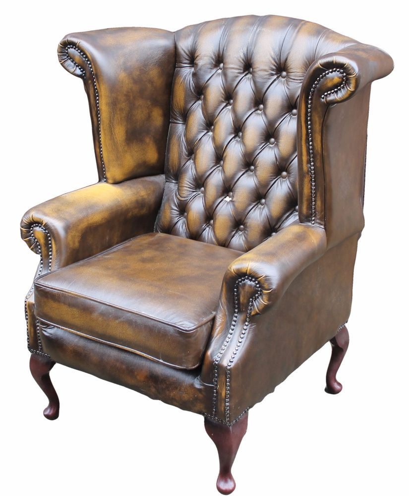 Antique upholstered chair styles - Thomas Lloyd Wing Back Armchair Upholstered In Brown Leather With Buttoned Back