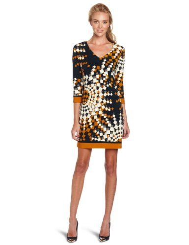 Sleeve Border Print V-Neck Dress