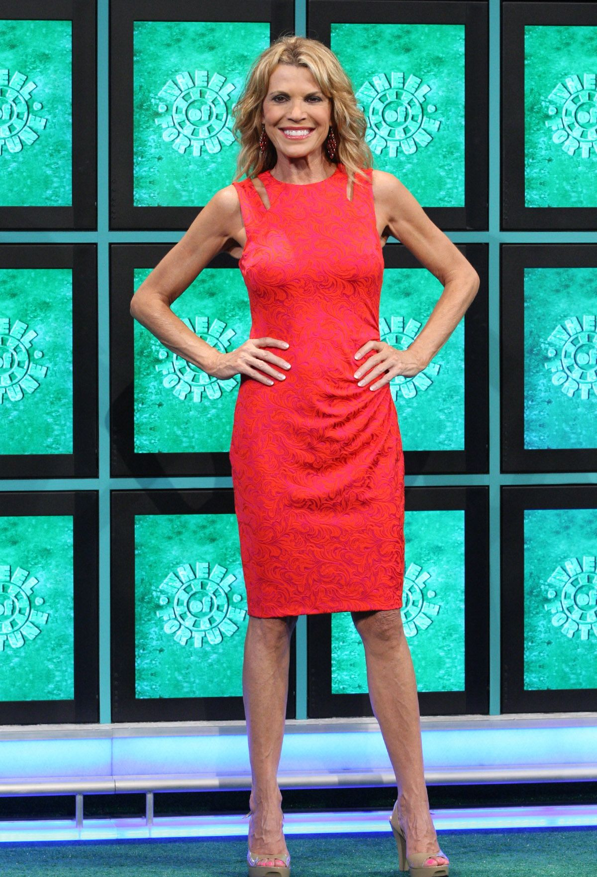 Vanna white looking great in our fuchsia sleeveless jacquard dress vanna white looking great in our fuchsia sleeveless jacquard dress with cutout detail ombrellifo Choice Image