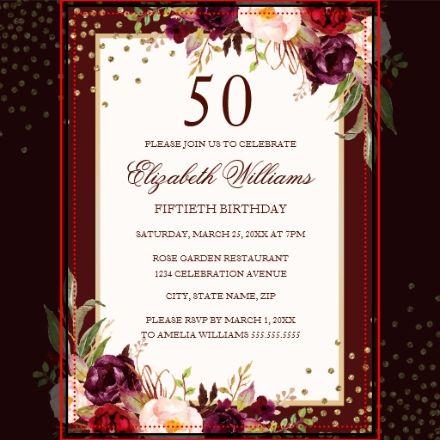 50th Birthday Gold Burgundy Floral Invitation