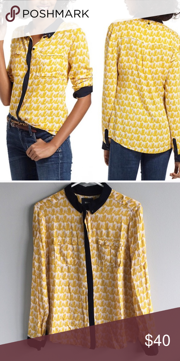 Anthropologie Maeve yellow and white horse shirt Maeve yellow shirt with white horse pattern throughout. Reposhing this as it did not fit me like I would like it too. No stains or holes from a nonsmoking home. Anthropologie Tops Button Down Shirts #horsepattern