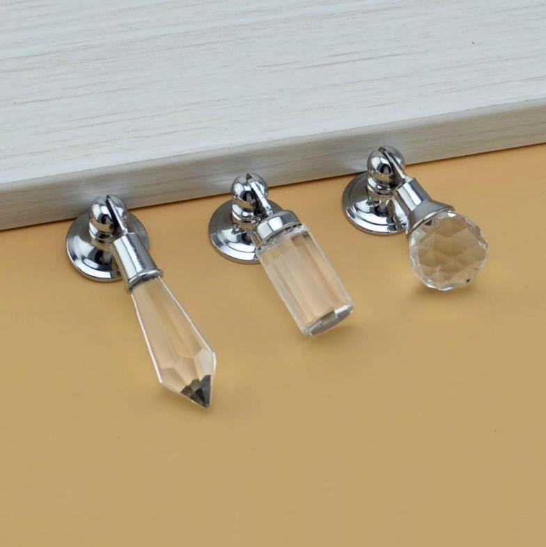 Crystal Glass Knobs / Dresser Knob Clear Drop Pull / Drawer Knobs Pulls  Handles / Cabinet