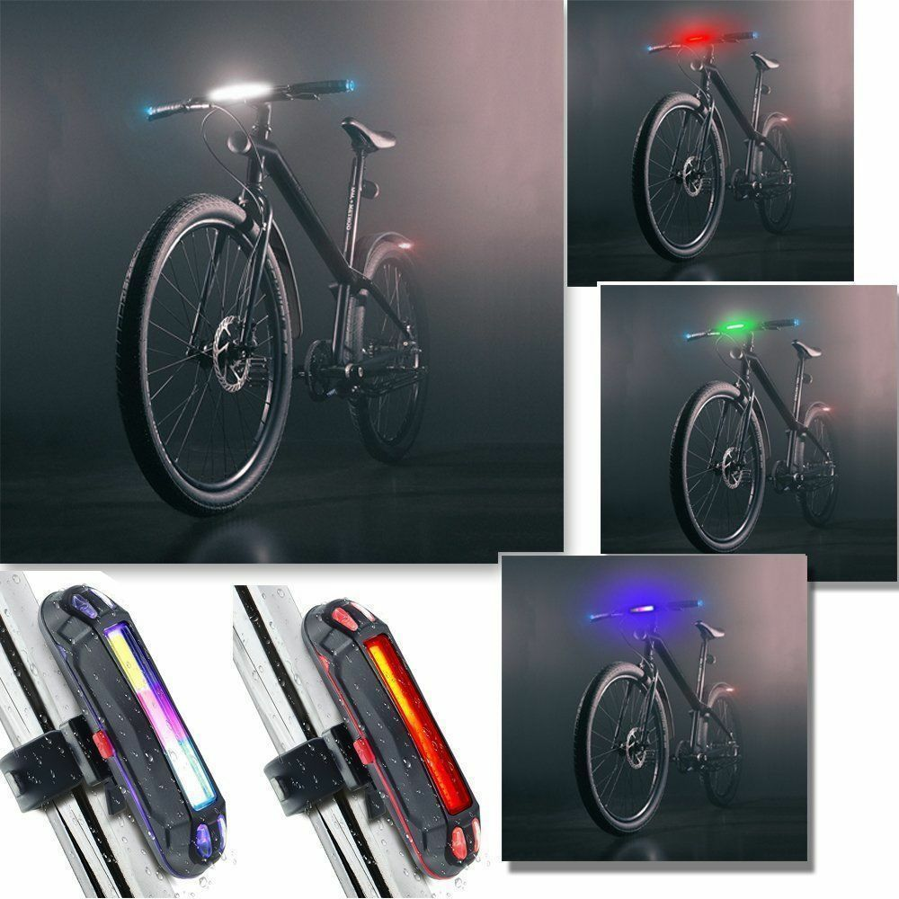 USB Rechargeable Bike Cycling Night Tail Warning Light Front Rear LED Flash Lamp