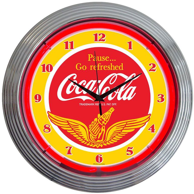 Horloge lumineuse murale n on vintage coca cola horloges n ons en 2019 for Horloge lumineuse