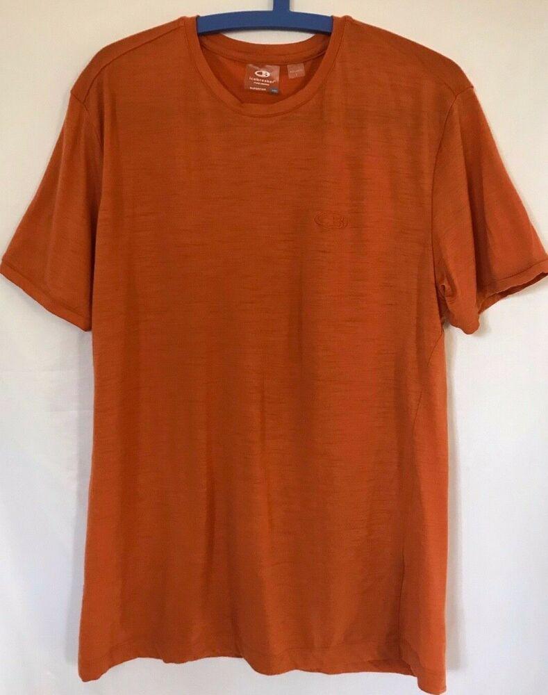 12d0f977cf6 $79 ICEBREAKER Men's size L Superfine Merino Orange Tech T Lite Crew T-Shirt  c5