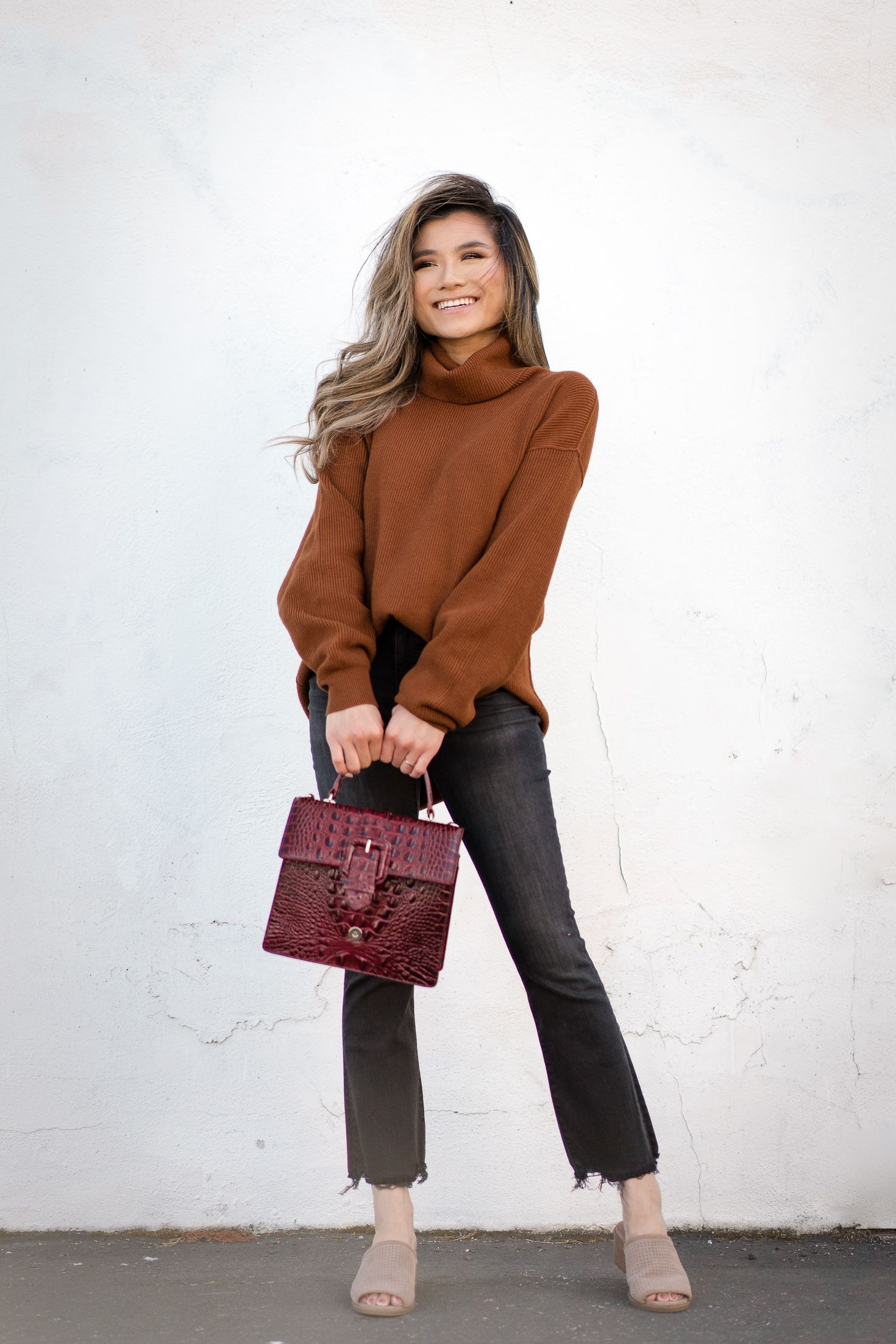 Fashion Blogger Miss Louie Fall Outfits 2018 for Women - Brahmin Francine  Bag Free People Softly Structured Knit Tunic Madewell Demi Bootcut Jeans ... 9535d76f8