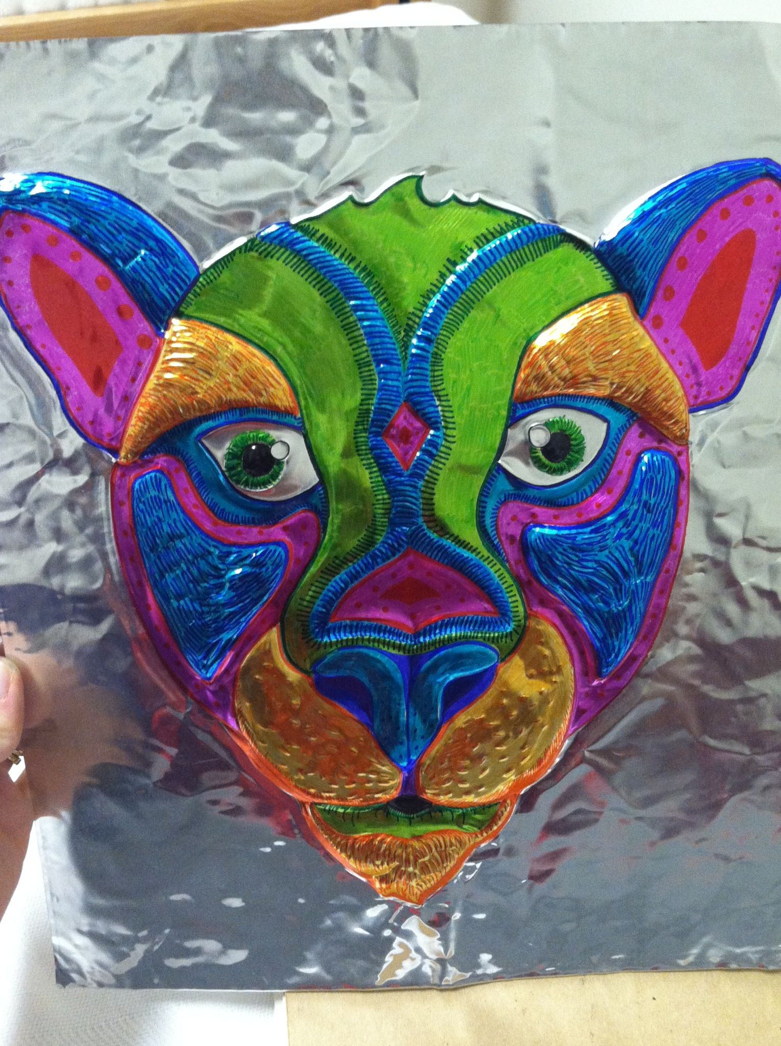 African Masks Foil Repouse Colored With Sharpies