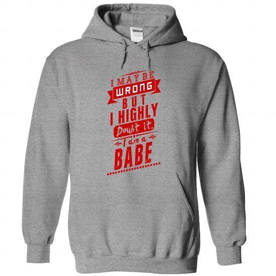 BABE T Shirts, Hoodies. Get it now ==► https://www.sunfrog.com/Camping/BABE-SportsGrey-92400331-Hoodie.html?41382