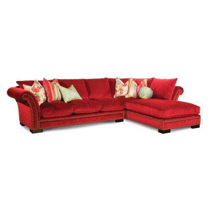 Scarlet Microfiber Sectional Includes Left Arm Sofa And Right Arm Chaise.  Featuring A Rolled Arm Design With Brass Nail Head Trim, This Piece Is A  Beautiful ... Design Inspirations