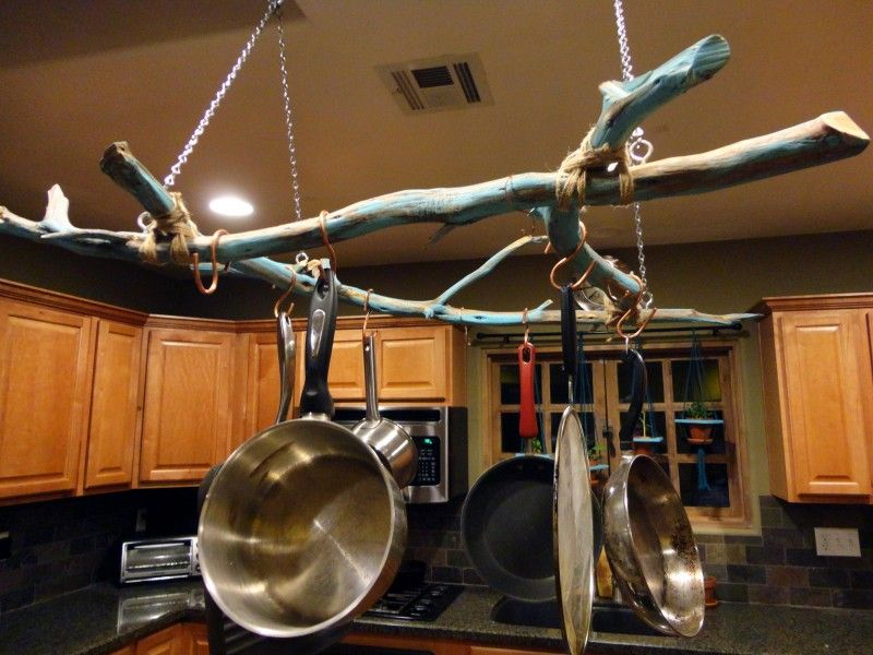 Pots And Pans Rack With Unique Twigs Do It Yourself Hanging Pot