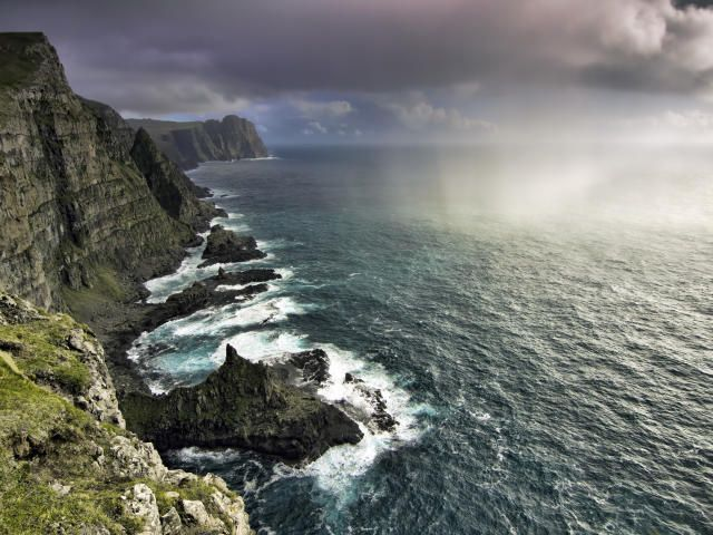 Faroe Islands Ocean Rocks Nature Wallpaper