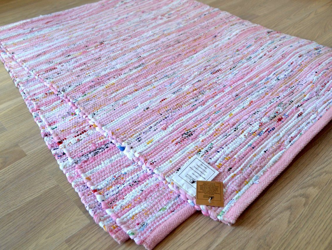 Rose Chindi Rag Tapis en coton recyclé tissé main 17 cm x 17 cm