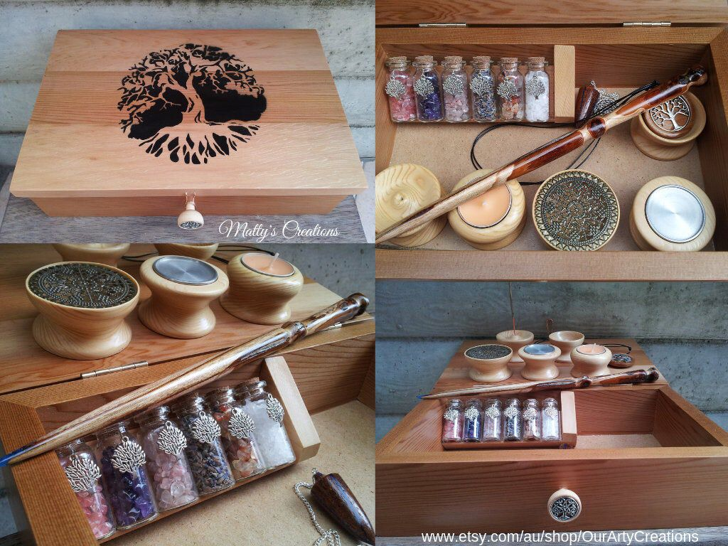Tree of Life Inspired Altar Kit,Spiritual Altar Box,Crystals,Spirituality,Magick,Travel Altar,Wand,Handcrafted Box,Altar Tools,Wiccan Decor #wiccandecor