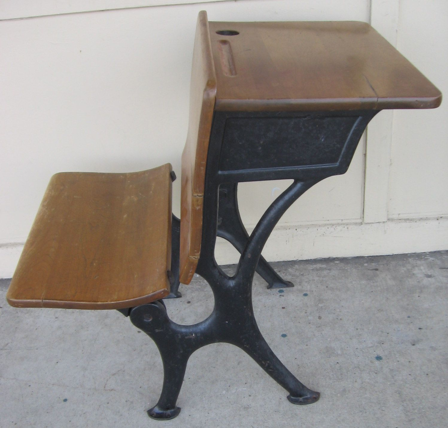 Antique Oak And Cast Iron Desk From One Room Schoolhouse