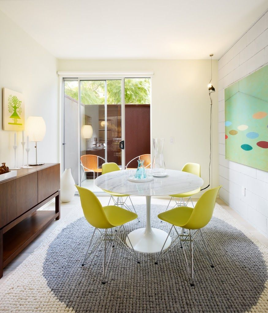Small Living Space Bright Color Eames White Amaze Balls Mid Century Dining Room Dining Room Remodel Loft Interiors