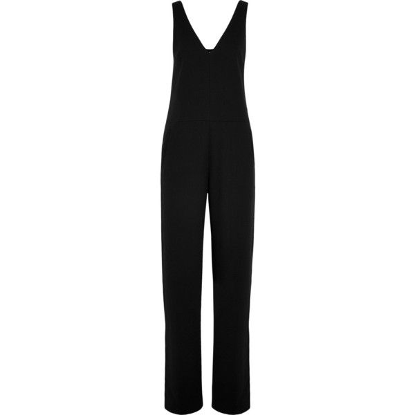 T by Alexander Wang Crepe jumpsuit (1 970 SEK) ❤ liked on Polyvore featuring jumpsuits, black, crepe jumpsuit, jump suit, black jumpsuit, black jump suit and jumpsuits & rompers