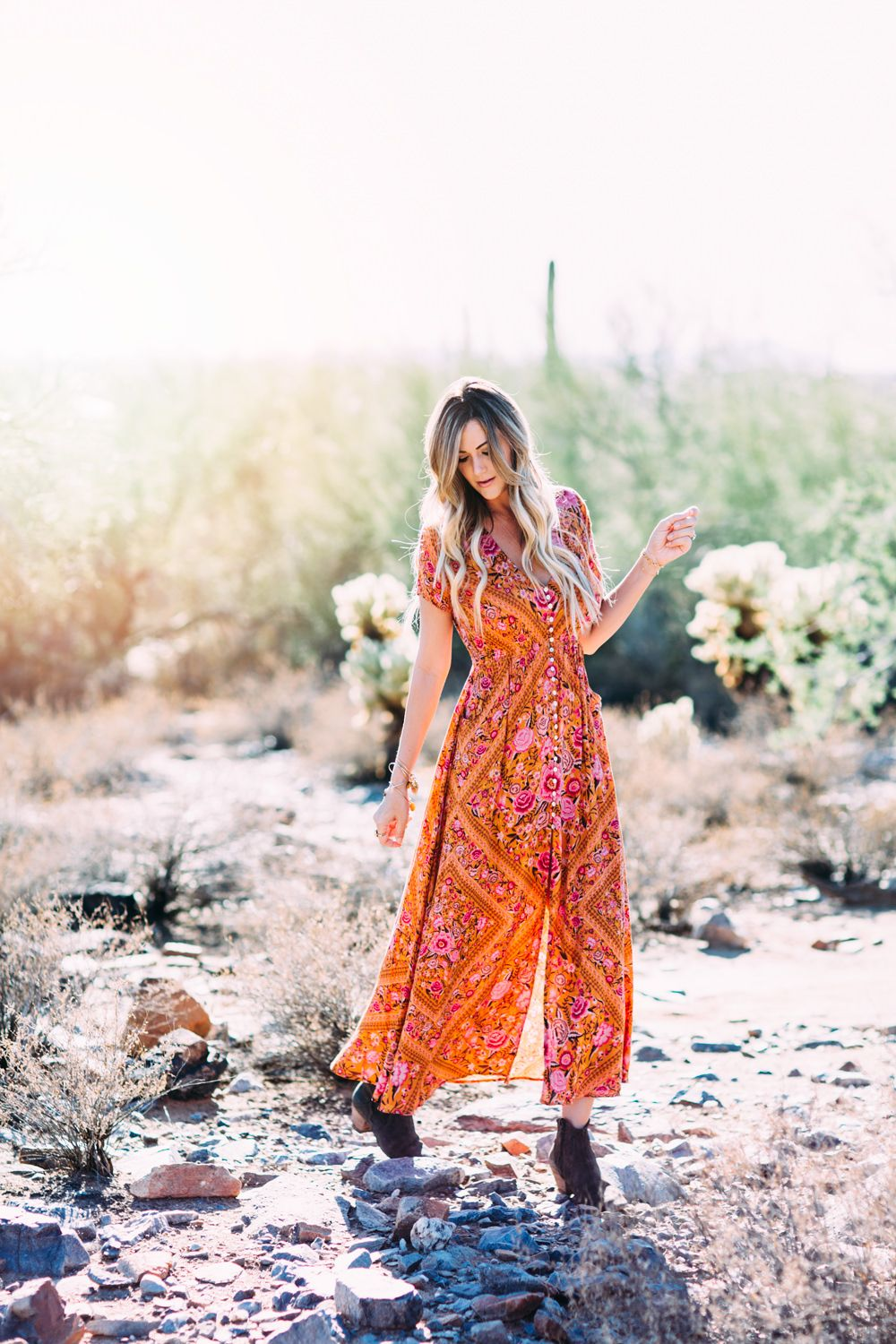 36aec2bcb85a41 Dash of Darling styles a bohemian vintage floral print button-front maxi  dress in the Arizona desert for a simple summer look.