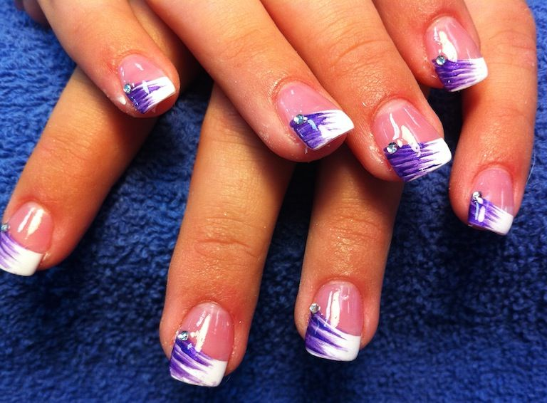 purple french tip nail design
