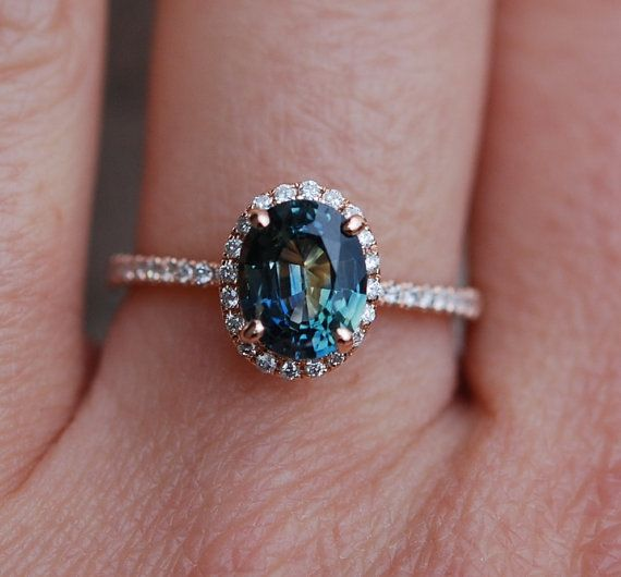 Green sapphire engagement ring. Peacock green by EidelPrecious