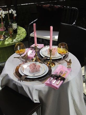 A Modern Valentine S Day Table Setting For Two Dinner Table Setting Valentines Day Dinner Cheap Table Decorations