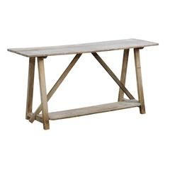 French Rustic Distressed Pine Console Table With Trestle Base And Bottom  Shelf