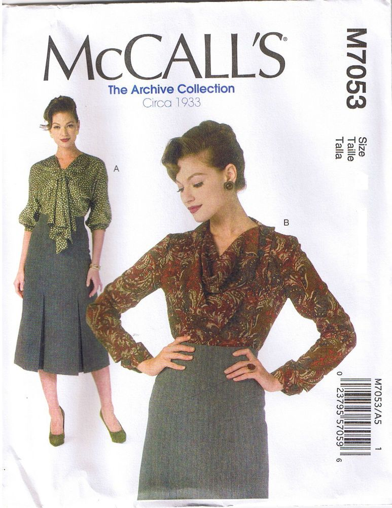 McCall M7053 Archive Collection 1930/'s Loose Pullover Top 6-8-10-12-14 Pattern