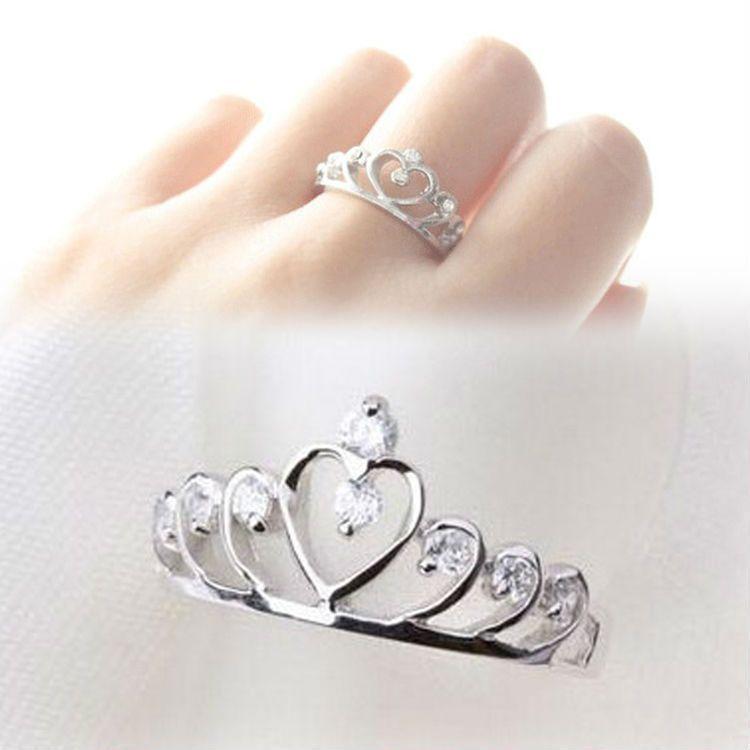 Princess Crown Silver Rhinestone Love Heart Ring Womens Girls