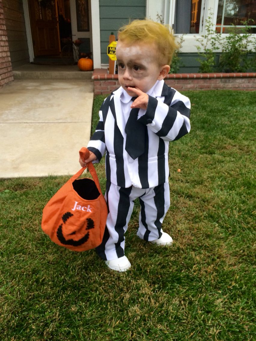 Baby beetlejuice costume; Homemade toddler Halloween ...