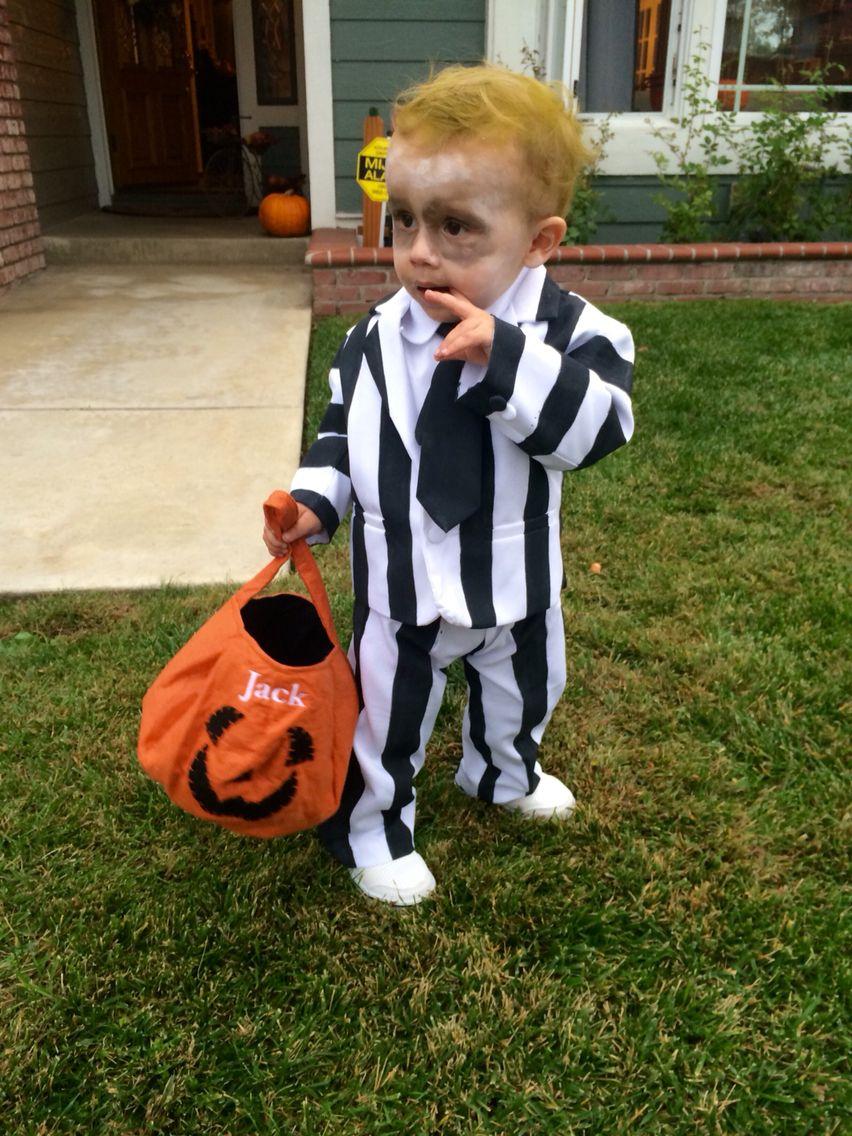 Baby beetlejuice costume; Homemade toddler Halloween