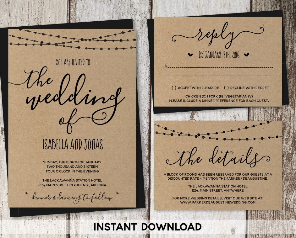 Wedding Invitation Template - Rustic Printable Set String Lights - invitation download template