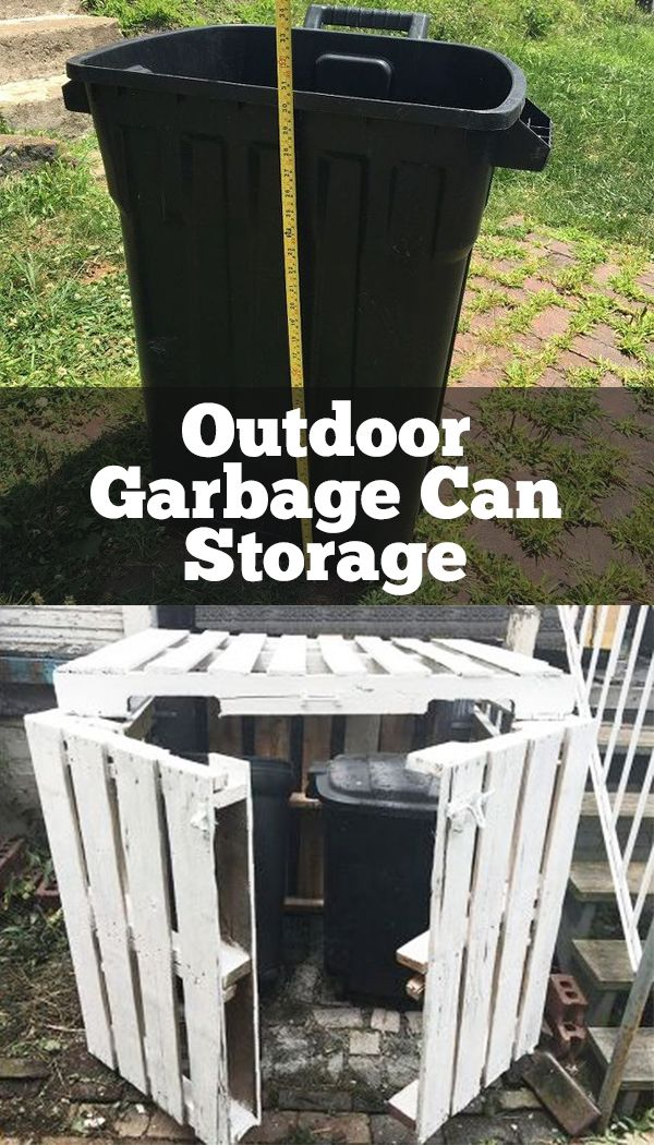 Outdoor Trash Can With Wheels A Homeowner Moves Her Trash Can Into The Yardshe Measures The