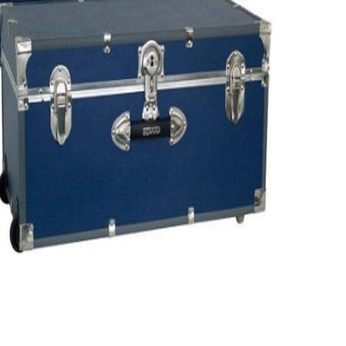 Dorm Room Foot Locker Wheeled Storage Trunk Wood With Blue Vinyl Covering  New