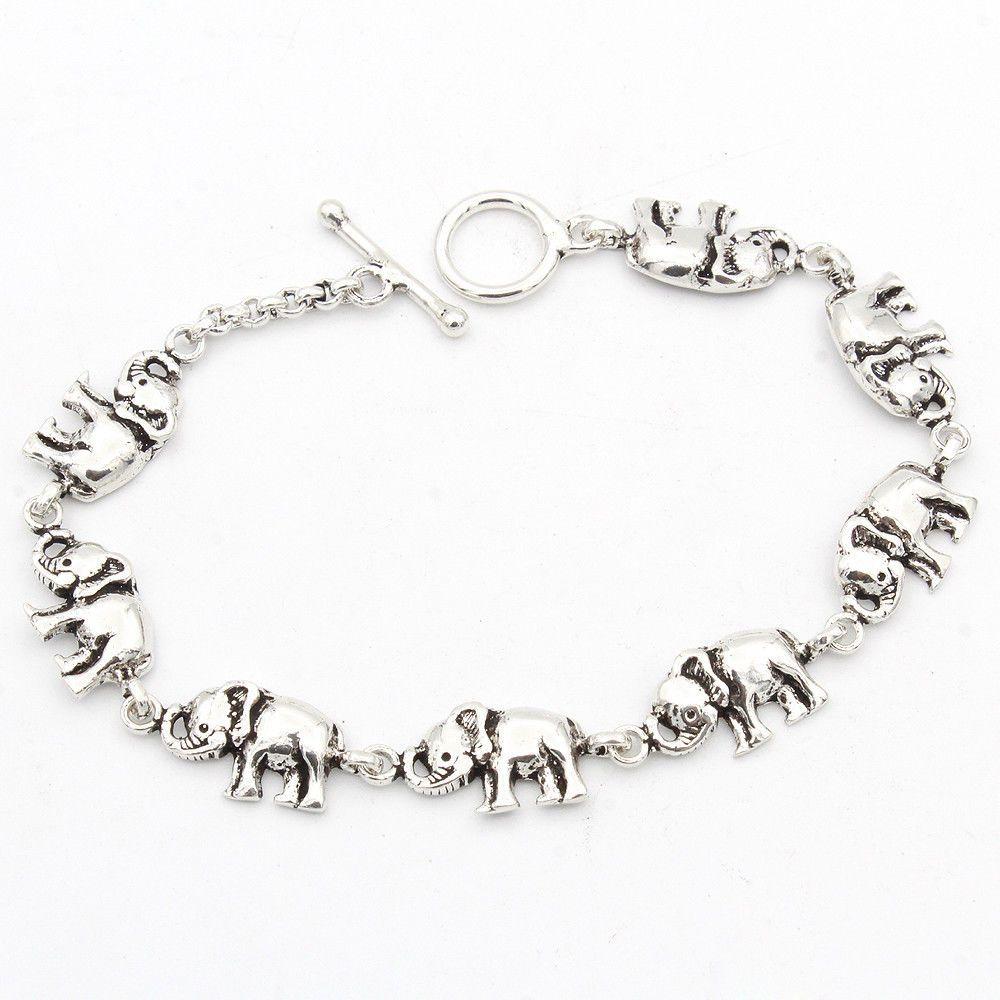 058c1c37997 VALENTINE DAY ELEPHANT DESIGN 925 Sterling Silver Bracelet Women Jewelry  7.6