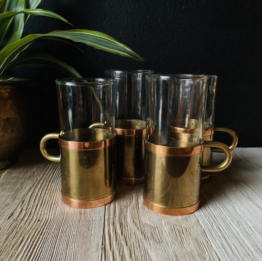 Vintage Beucler Copper & Brass Irish Coffee Glasses Set