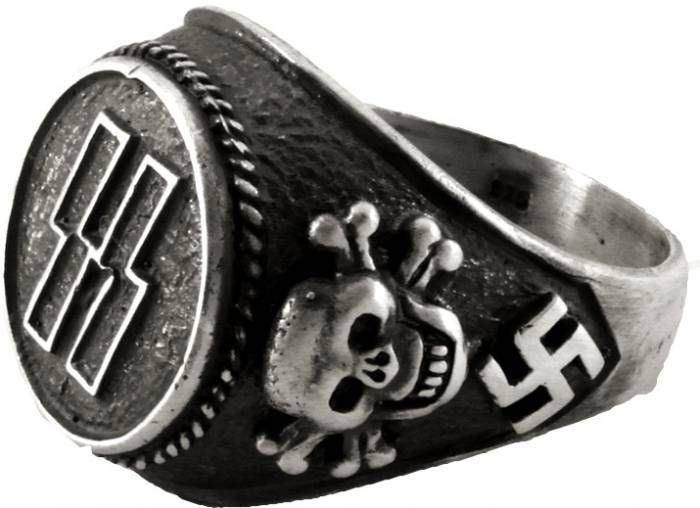 SS Officer Ring Germanic Runes Like Lightning Bolts Along With The Deaths Head Symbol Swastika Its Black Grey Color To Match Uniforms Of