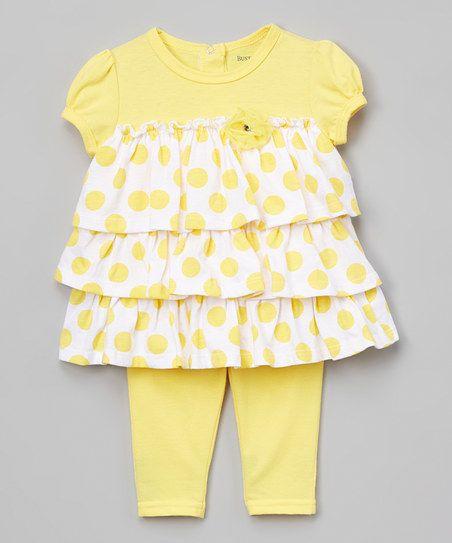 Aspen Gold Polka Dot Ruffle Babydoll Top & Shorts - Infant