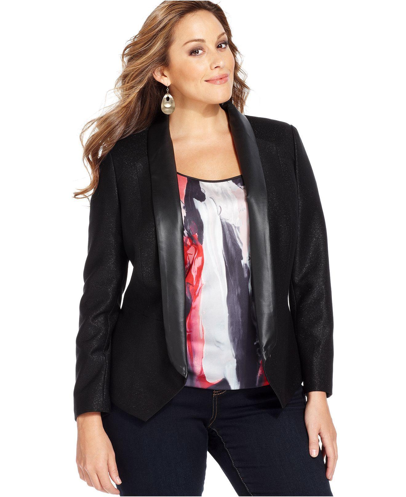 DKNY Plus Size Jacket, Faux Leather Metallic Tuxedo Plus