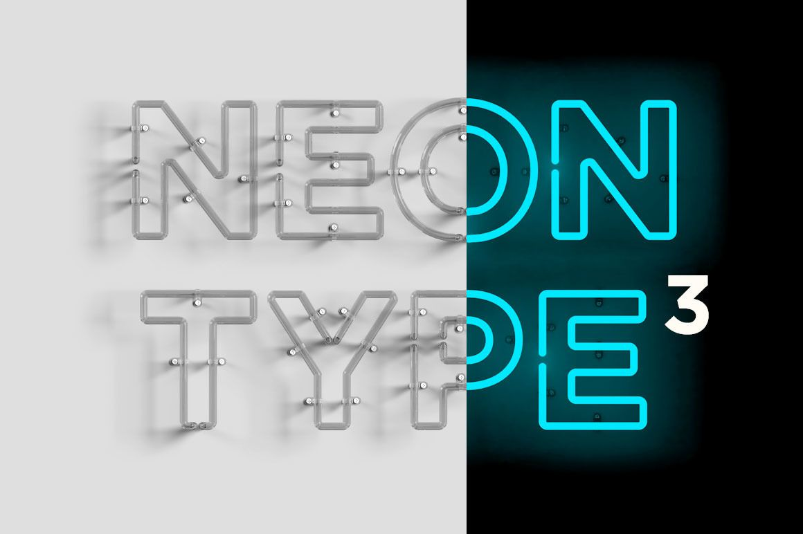 Neon Type A Photoshop template file to help you create realistic ...