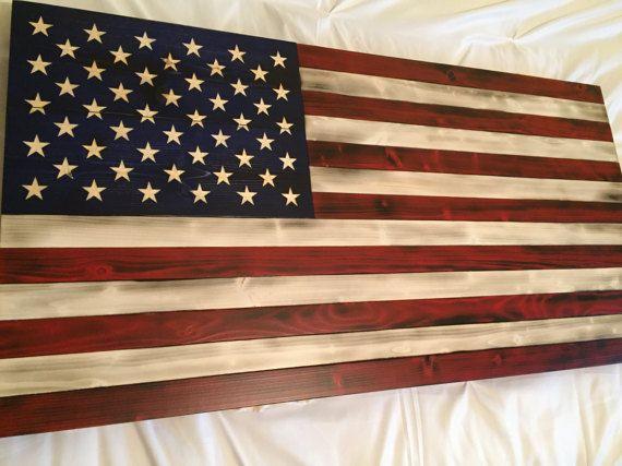 All American Wood Flag Rustic Art