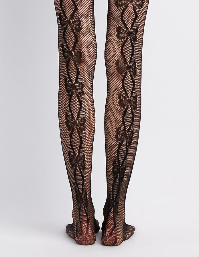 0914cc16cc541 Bow Patterned Fishnet Tights in 2019 | Hosiery | Fishnet tights ...