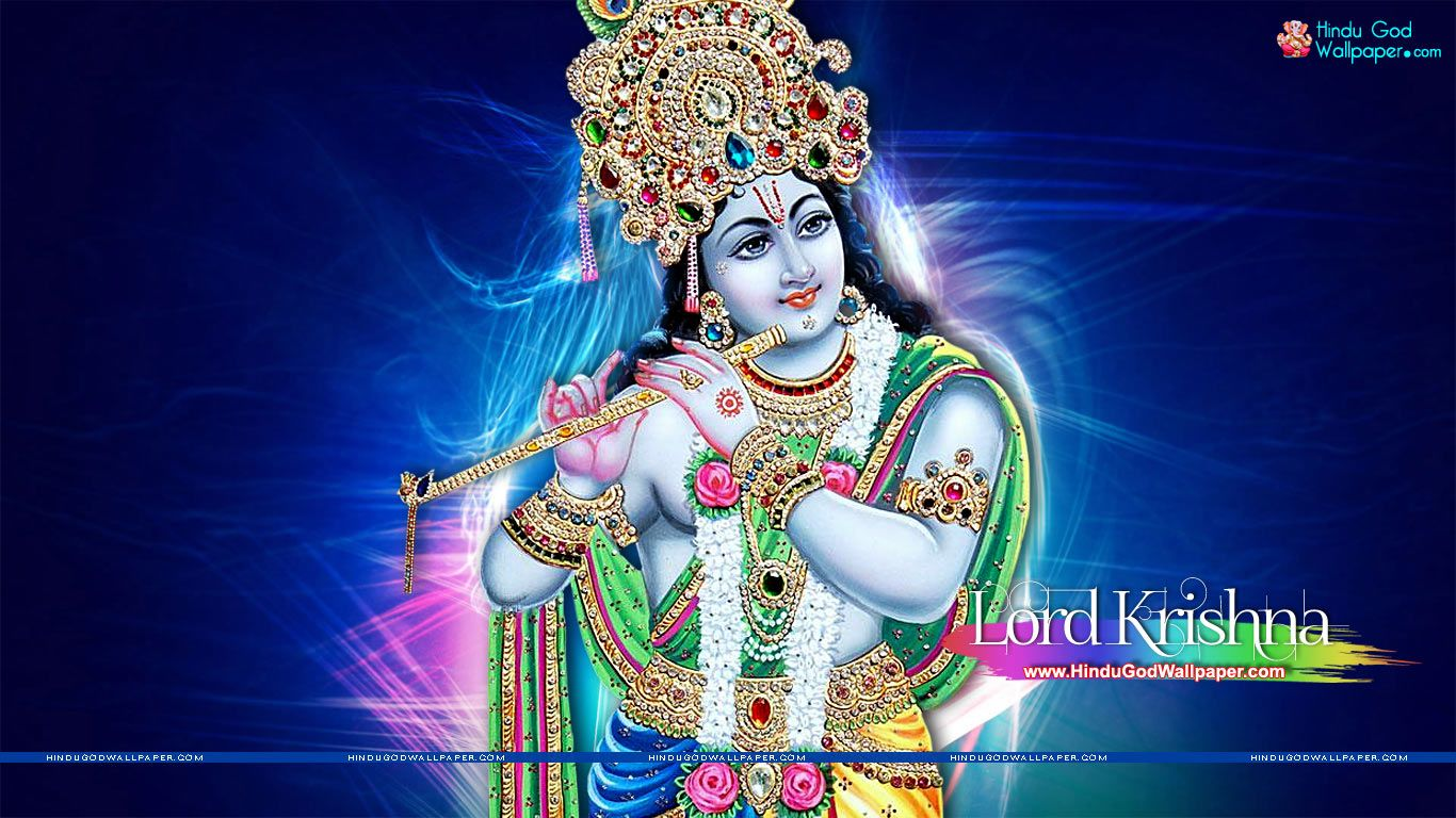 1366x768 Lord Krishna Wallpaper HD Size Download | Golden Gods in 2019 | Lord krishna wallpapers ...