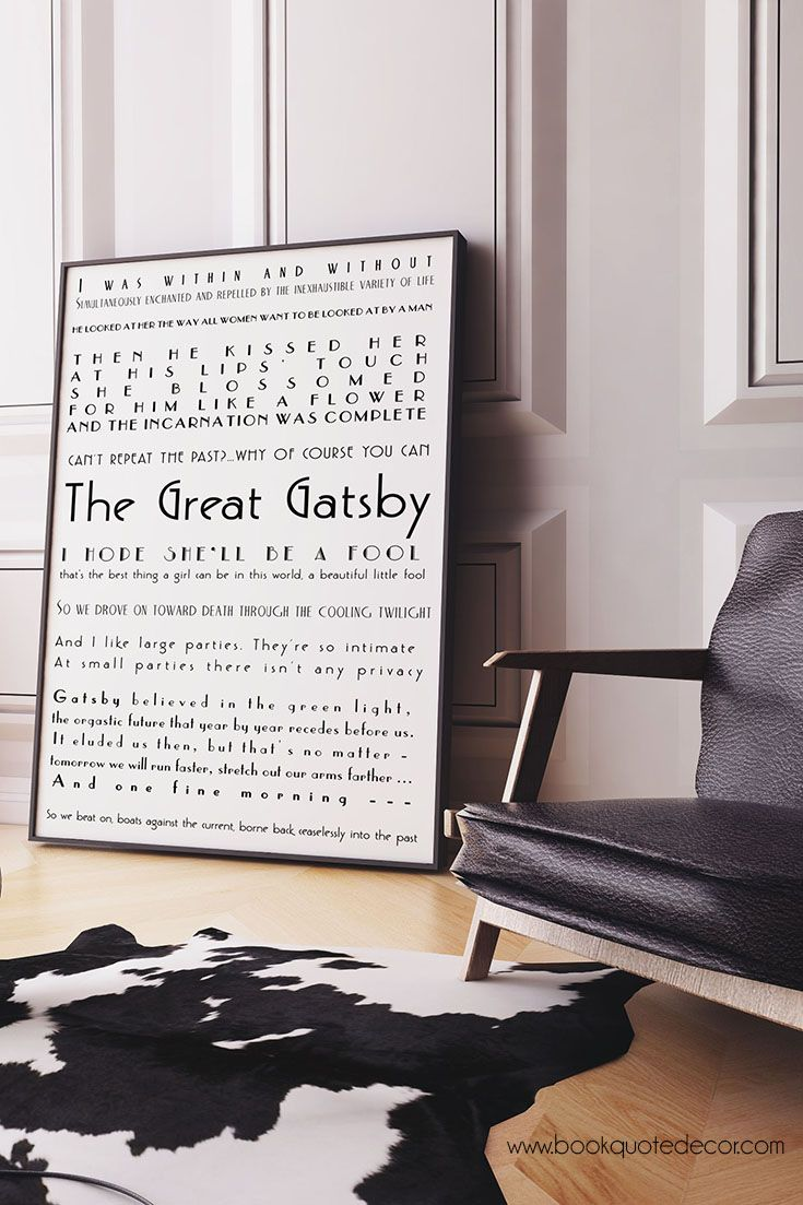Framed Art Print - The Great Gatsby Quotes Print, Literary Art ...