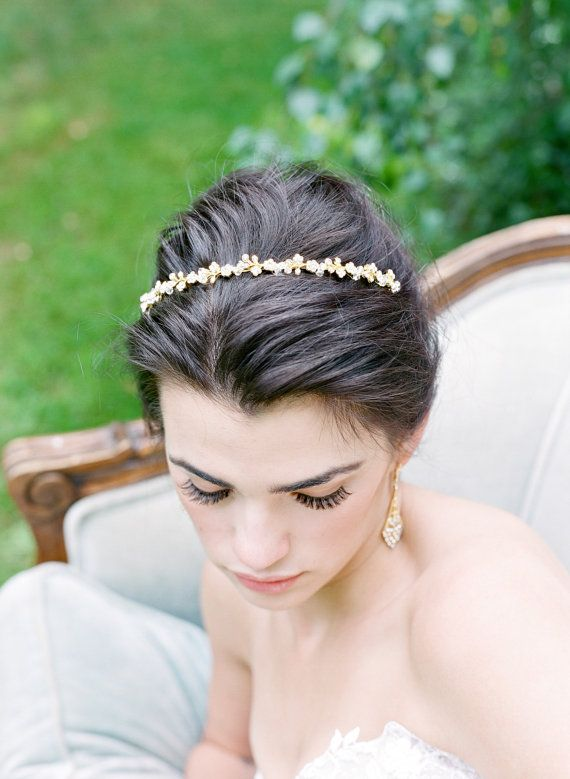 63665bedaf7f Crystal Thin Bridal Headband MINA Swarovski Bridal Tiara Thin ...
