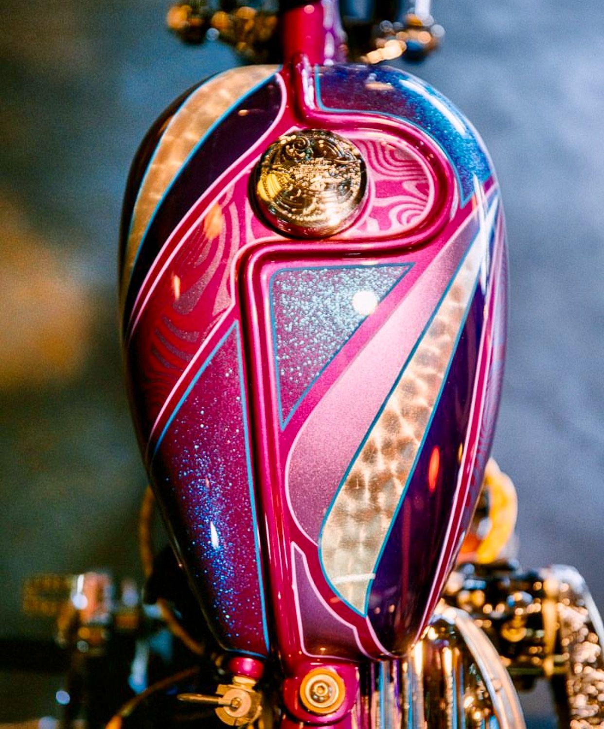 Painted motorcycle gas tank