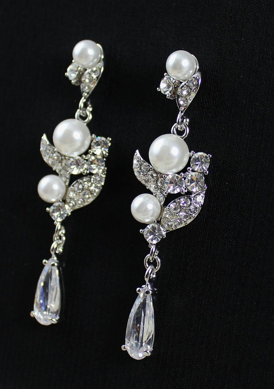 Chandelier wedding earrings crystal rhinestone and pearl bridal chandelier wedding earrings crystal rhinestone and pearl bridal earrings erin be frosted 5100 arubaitofo Choice Image