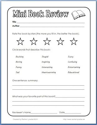 Mini Book Review z School {Library} Pinterest Classroom - book reviews template