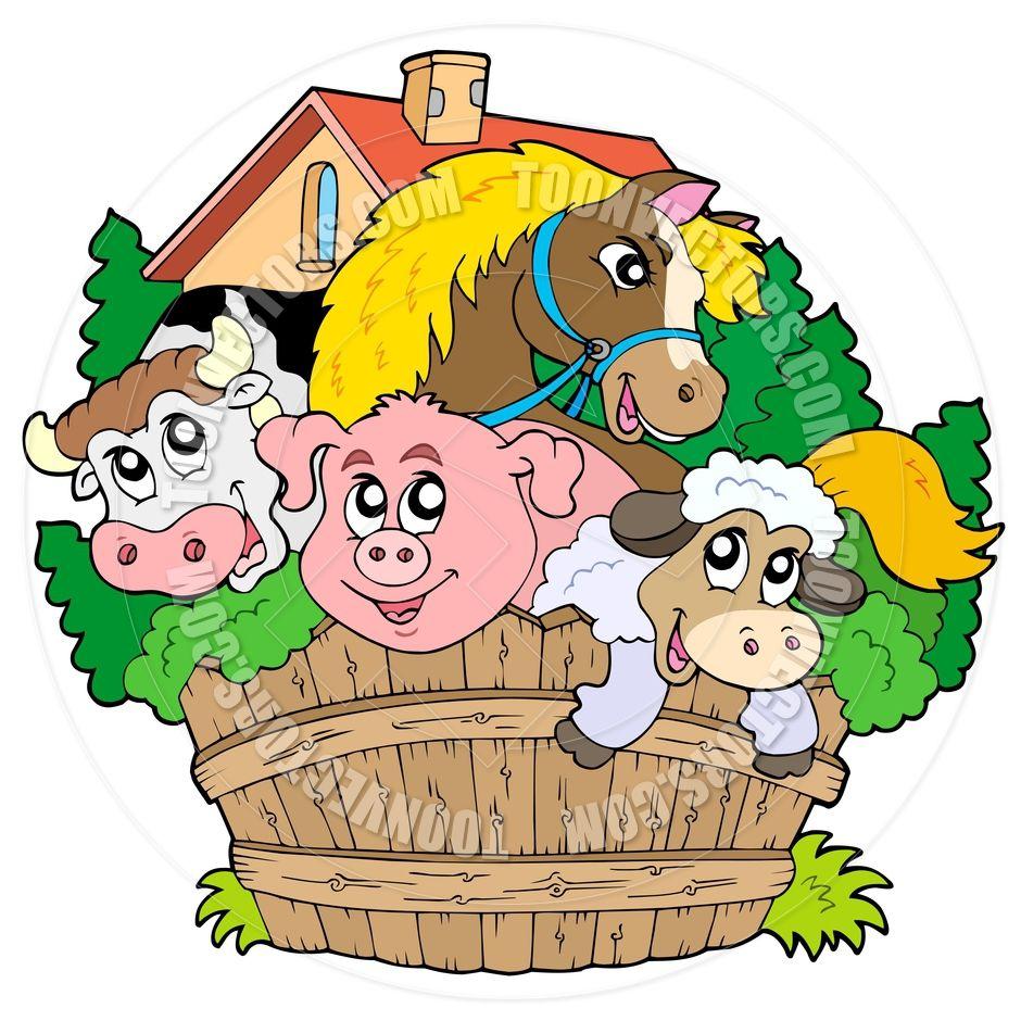 Cartoon Farm Animals Google Search Front Yard Fence Animal Vector Illustration Fence Design