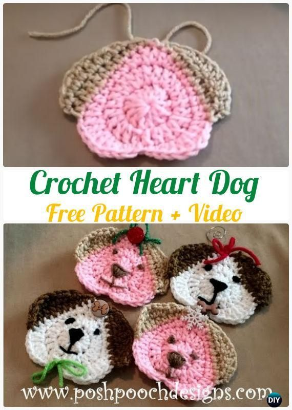Crochet Heart Dog Free Pattern - #Crochet Heart Applique Free ...